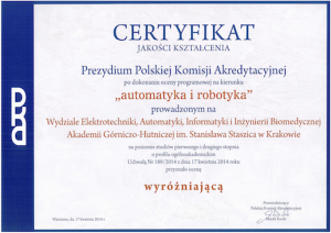 certyfikat jakosci kształcenia Katedra Automatyki i Robotyki AGH